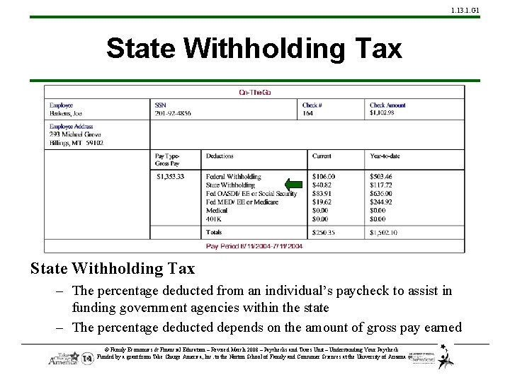 1. 13. 1. G 1 State Withholding Tax – The percentage deducted from an