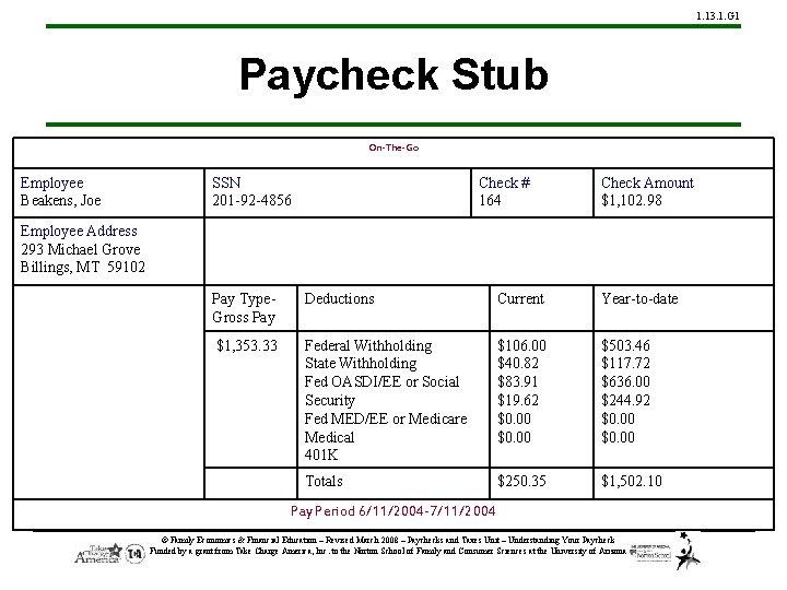 1. 13. 1. G 1 Paycheck Stub On-The-Go Employee Beakens, Joe SSN 201 -92