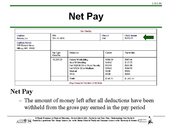 1. 13. 1. G 1 Net Pay – The amount of money left after