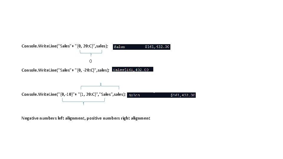 """Console. Write. Line(""""Sales""""+ """"{0, 20: C}"""", sales); 0 Console. Write. Line(""""Sales""""+ """"{0, -20: C}"""","""