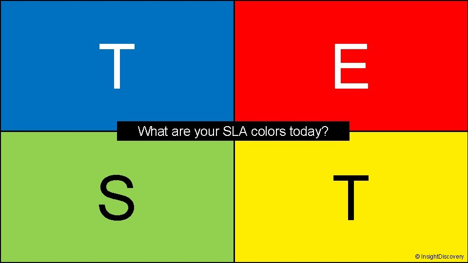 T E What are your SLA colors today? S T © Insight. Discovery