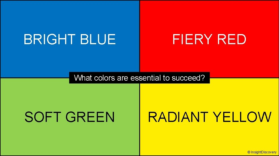 BRIGHT BLUE FIERY RED What colors are essential to succeed? SOFT GREEN RADIANT YELLOW