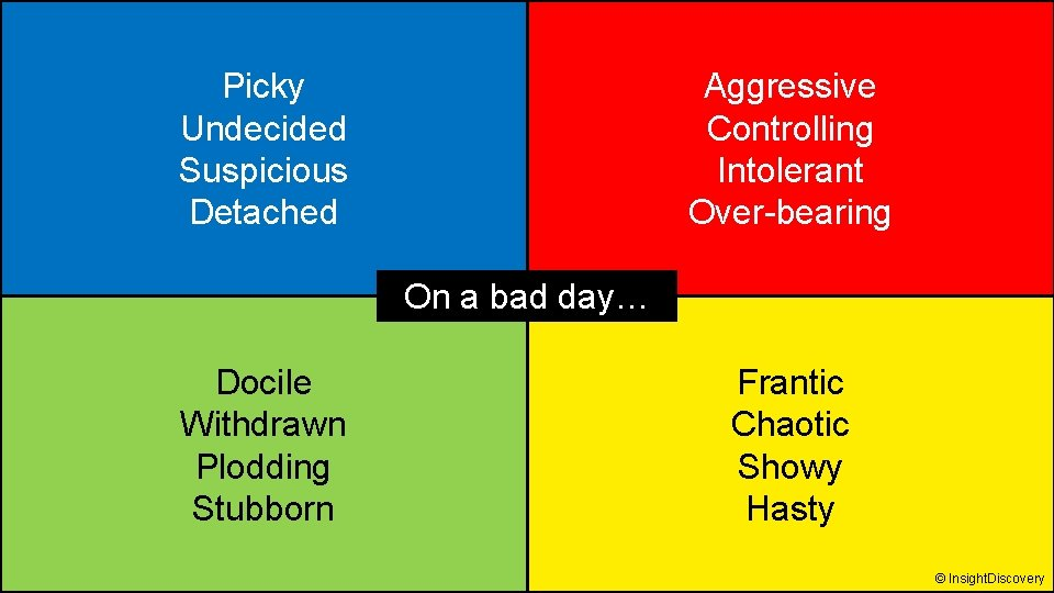 Picky Undecided Suspicious Detached Aggressive Controlling Intolerant Over-bearing On a bad day… Docile Withdrawn