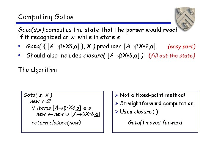 Computing Gotos Goto(s, x) computes the state that the parser would reach if it