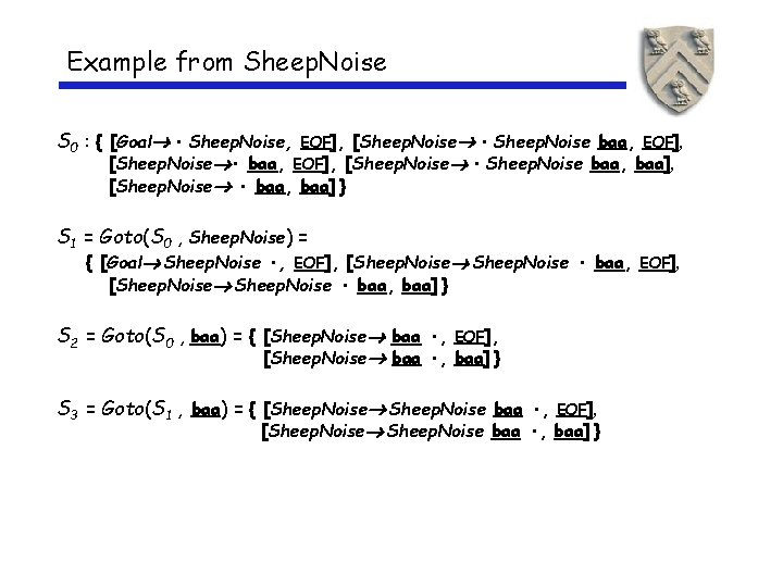 Example from Sheep. Noise S 0 : { [Goal • Sheep. Noise, EOF], [Sheep.