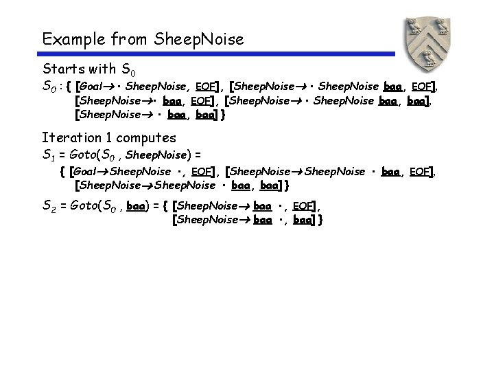 Example from Sheep. Noise Starts with S 0 : { [Goal • Sheep. Noise,