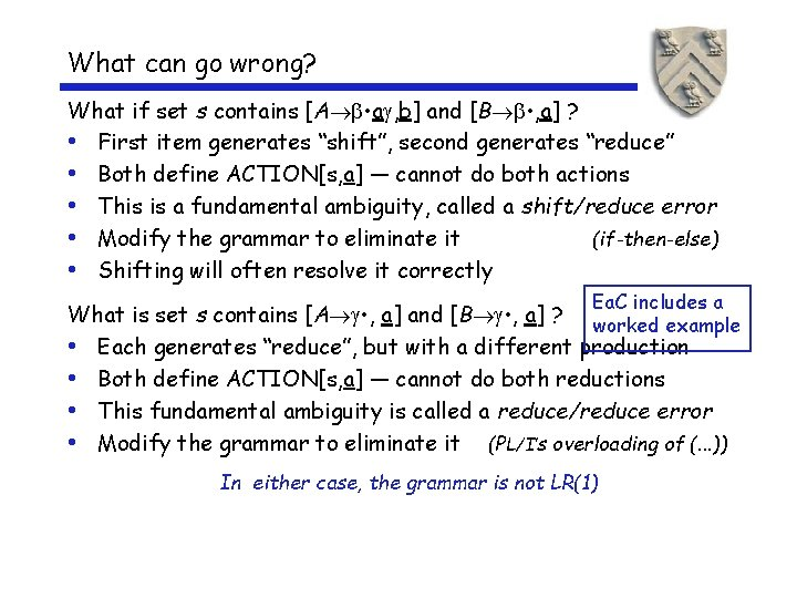 What can go wrong? What if set s contains [A • a , b]