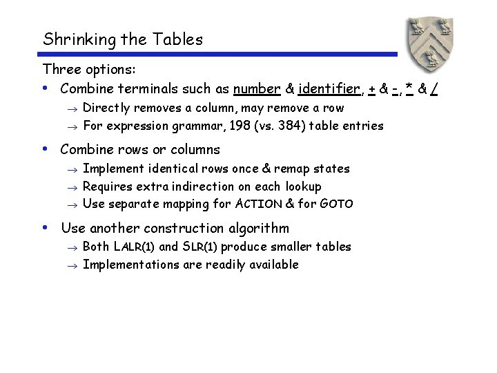Shrinking the Tables Three options: • Combine terminals such as number & identifier, +
