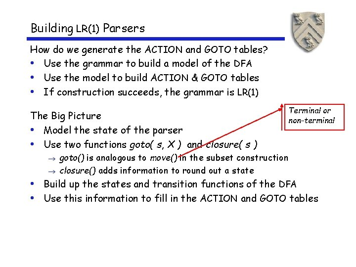 Building LR(1) Parsers How do we generate the ACTION and GOTO tables? • Use