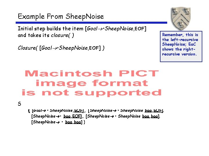 Example From Sheep. Noise Initial step builds the item [Goal • Sheep. Noise, EOF]