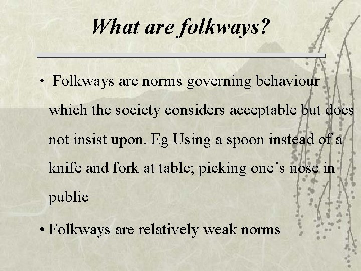 What are folkways? • Folkways are norms governing behaviour which the society considers acceptable