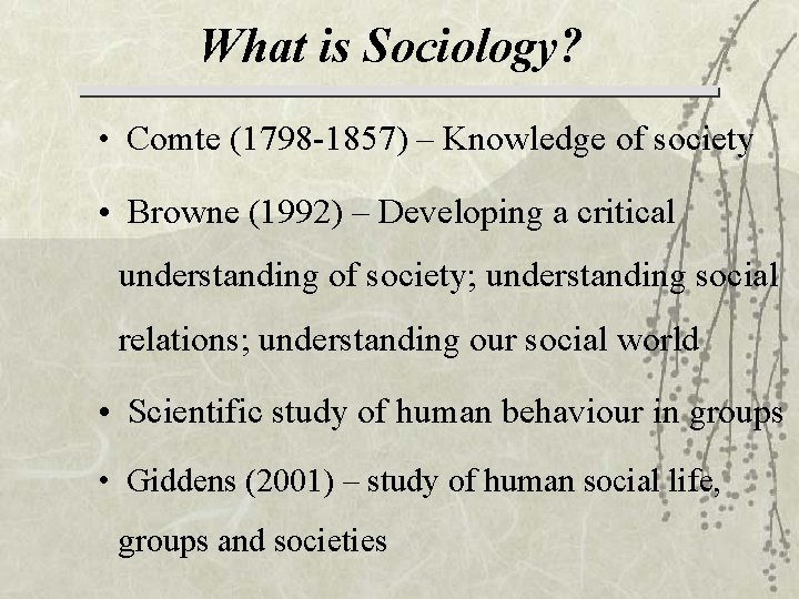 What is Sociology? • Comte (1798 -1857) – Knowledge of society • Browne (1992)