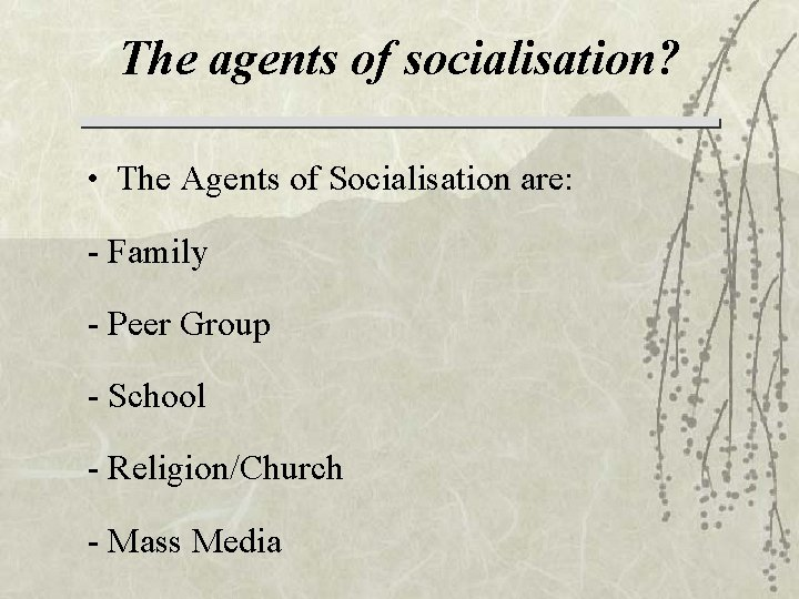 The agents of socialisation? • The Agents of Socialisation are: - Family - Peer