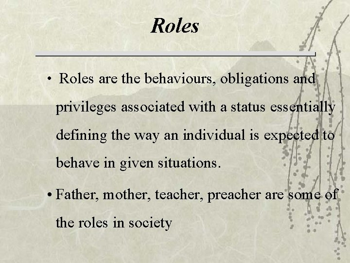 Roles • Roles are the behaviours, obligations and privileges associated with a status essentially
