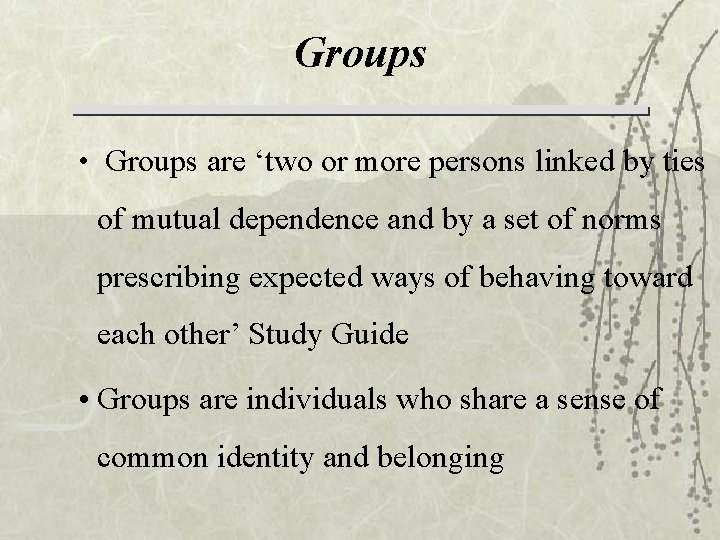 Groups • Groups are 'two or more persons linked by ties of mutual dependence