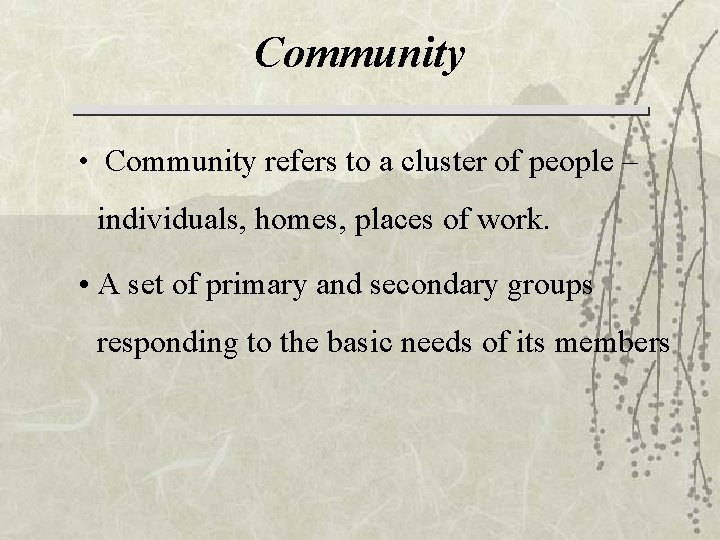 Community • Community refers to a cluster of people – individuals, homes, places of
