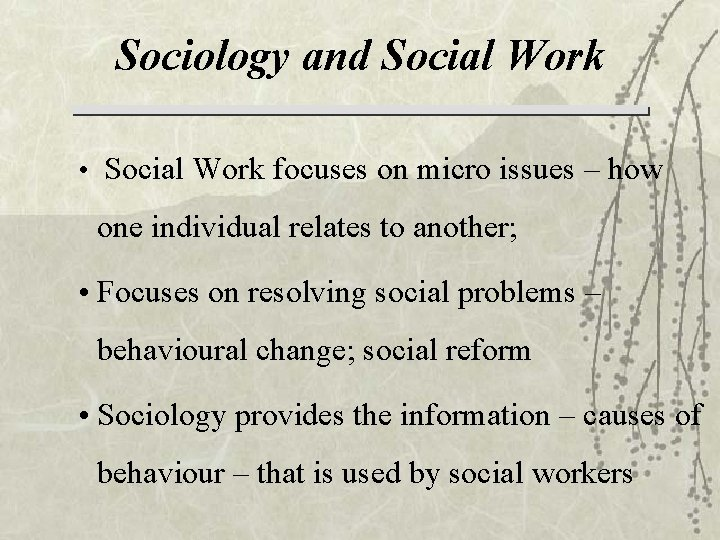 Sociology and Social Work • Social Work focuses on micro issues – how one