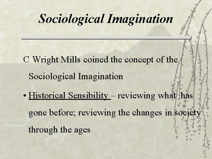 Sociological Imagination C Wright Mills coined the concept of the Sociological Imagination • Historical