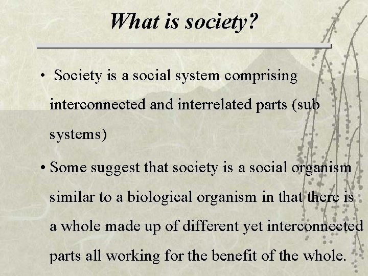 What is society? • Society is a social system comprising interconnected and interrelated parts
