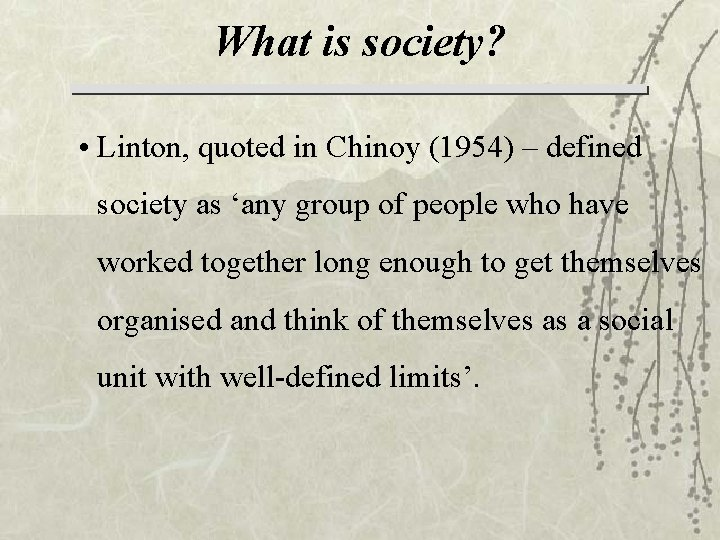 What is society? • Linton, quoted in Chinoy (1954) – defined society as 'any