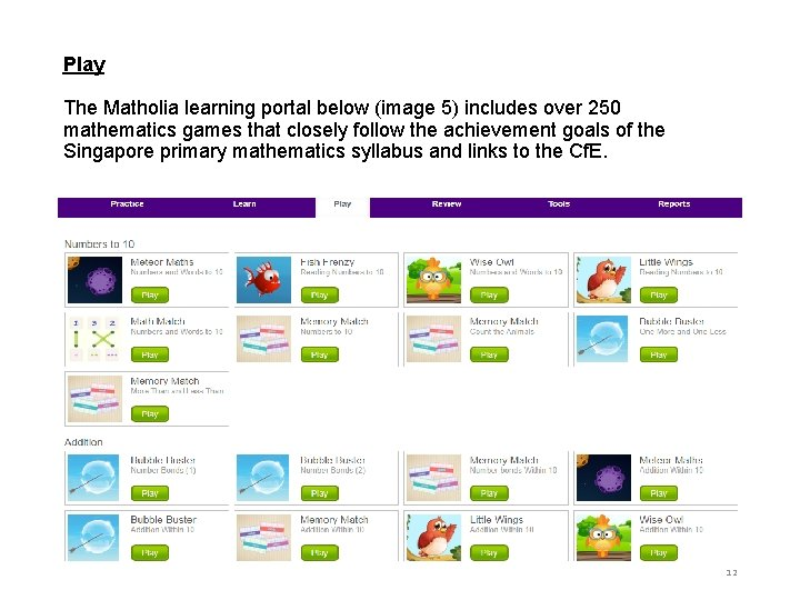 Play The Matholia learning portal below (image 5) includes over 250 mathematics games