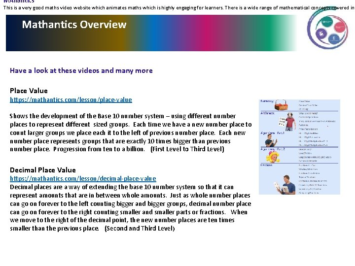 MAhantics This is a very good maths video website which animates maths which is