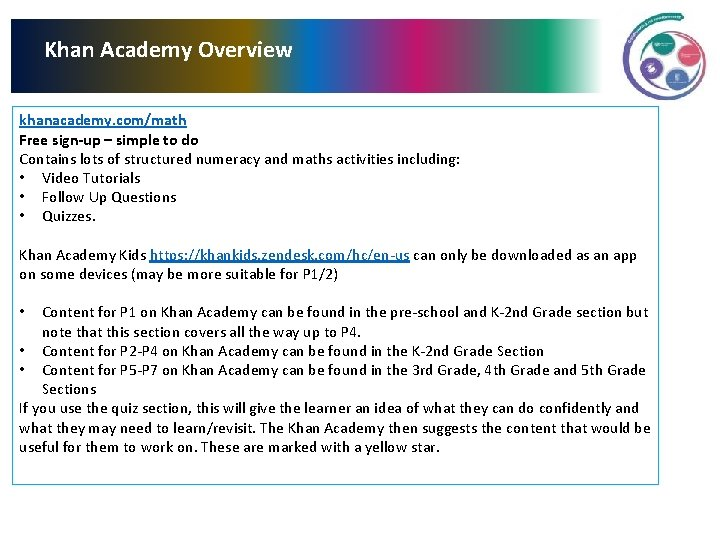 Khan Academy Overview khanacademy. com/math Free sign-up – simple to do Contains lots of