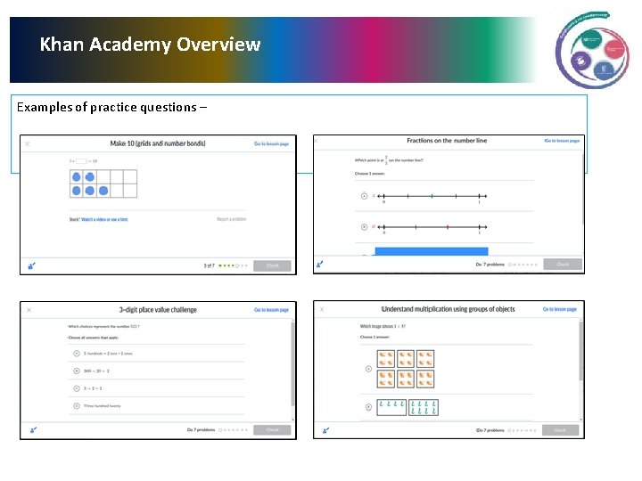 Khan Academy Overview Examples of practice questions –