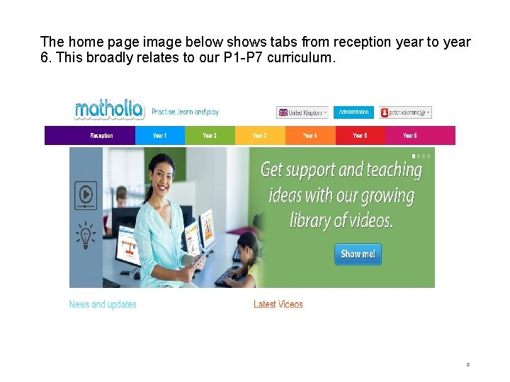 The home page image below shows tabs from reception year to year 6. This