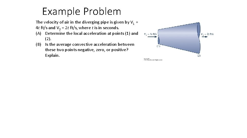 Example Problem The velocity of air in the diverging pipe is given by V