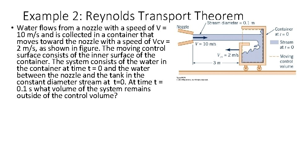 Example 2: Reynolds Transport Theorem • Water flows from a nozzle with a speed