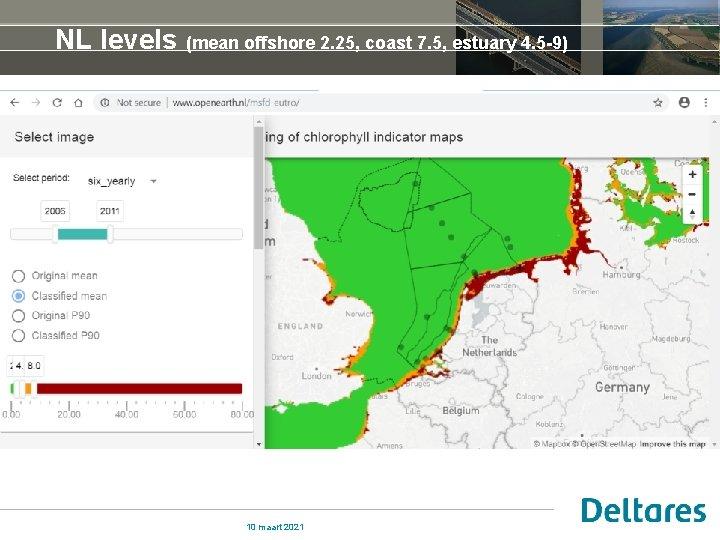 NL levels (mean offshore 2. 25, coast 7. 5, estuary 4. 5 -9) 10