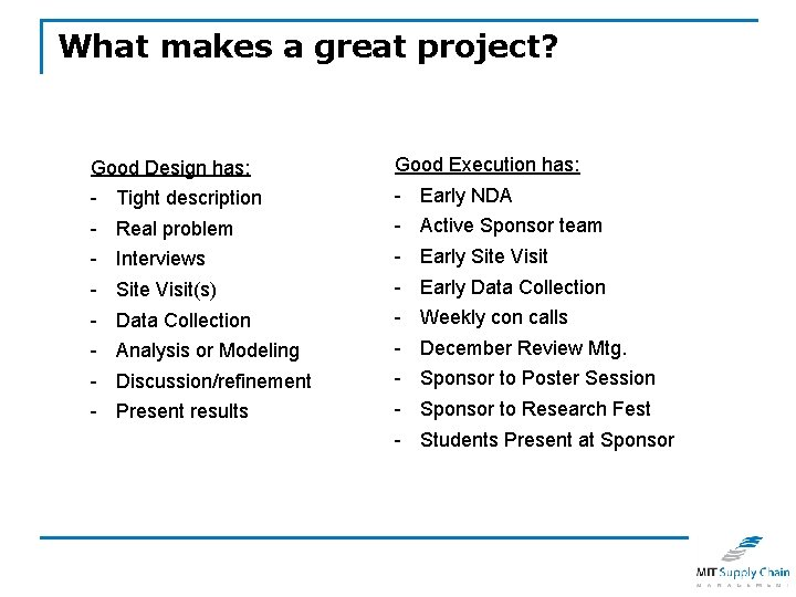 What makes a great project? Good Design has: Good Execution has: - - Tight