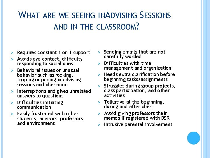WHAT ARE WE SEEING INADVISING SESSIONS AND IN THE CLASSROOM? Ø Ø Ø Requires