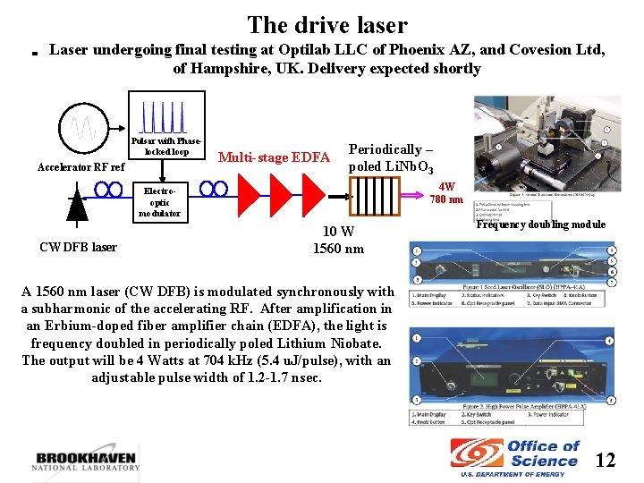 The drive laser Laser undergoing final testing at Optilab LLC of Phoenix AZ, and