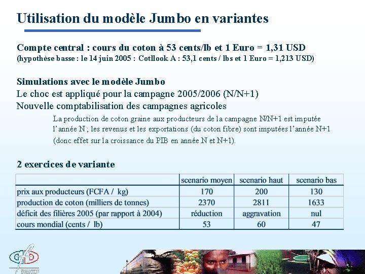 Utilisation du modèle Jumbo en variantes Compte central : cours du coton à 53