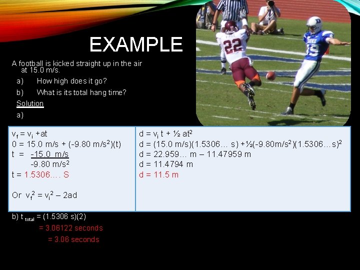 EXAMPLE A football is kicked straight up in the air at 15. 0 m/s.