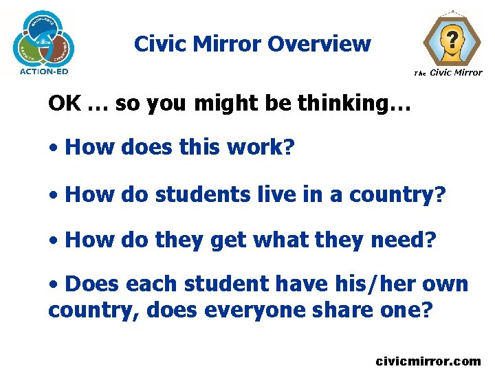 Civic Mirror Overview The Civic Mirror OK … so you might be thinking… •