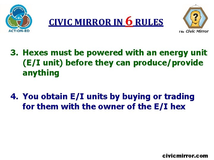 CIVIC MIRROR IN 6 RULES The Civic Mirror 3. Hexes must be powered with