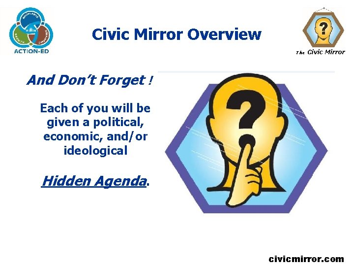 Civic Mirror Overview The Civic Mirror And Don't Forget ! Each of you will