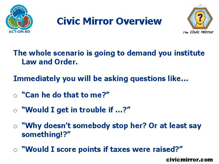 Civic Mirror Overview The Civic Mirror The whole scenario is going to demand you