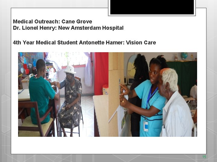 Medical Outreach: Cane Grove Dr. Lionel Henry: New Amsterdam Hospital 4 th Year Medical