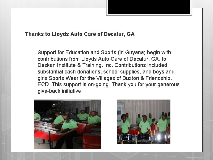 Thanks to Lloyds Auto Care of Decatur, GA Support for Education and Sports (in