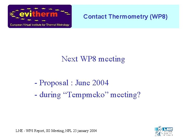 Contact Thermometry (WP 8) Next WP 8 meeting - Proposal : June 2004 -