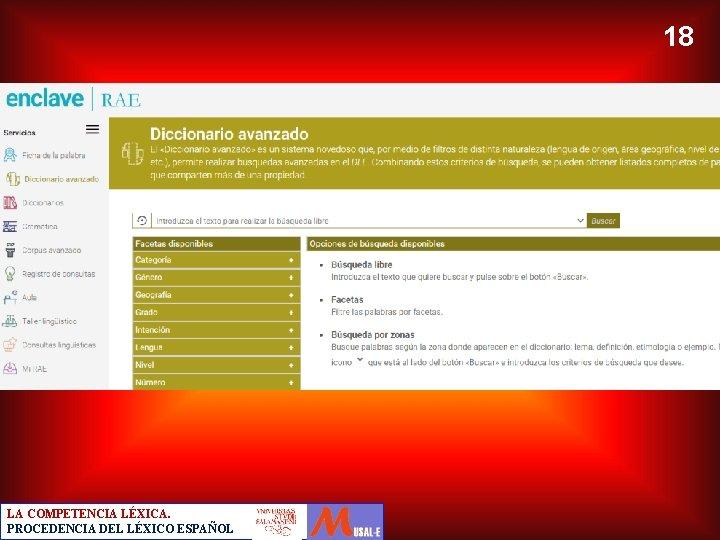 18 LA COMPETENCIA LÉXICA. PROCEDENCIA DEL LÉXICO ESPAÑOL
