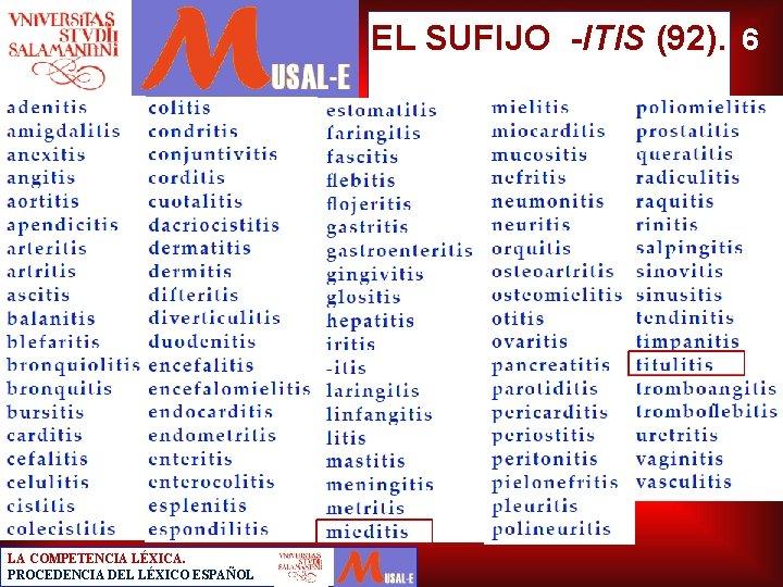 EL SUFIJO -ITIS (92). 6 LA COMPETENCIA LÉXICA. PROCEDENCIA DEL LÉXICO ESPAÑOL