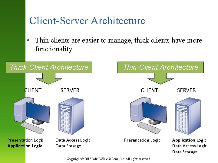 Client-Server Architecture • Thin clients are easier to manage, thick clients have more functionality