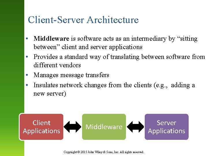 """Client-Server Architecture • Middleware is software acts as an intermediary by """"sitting between"""" client"""