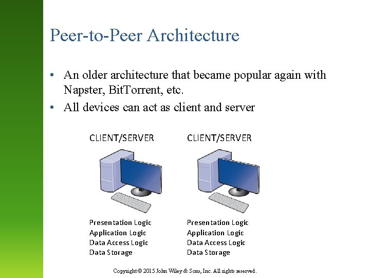 Peer-to-Peer Architecture • An older architecture that became popular again with Napster, Bit. Torrent,