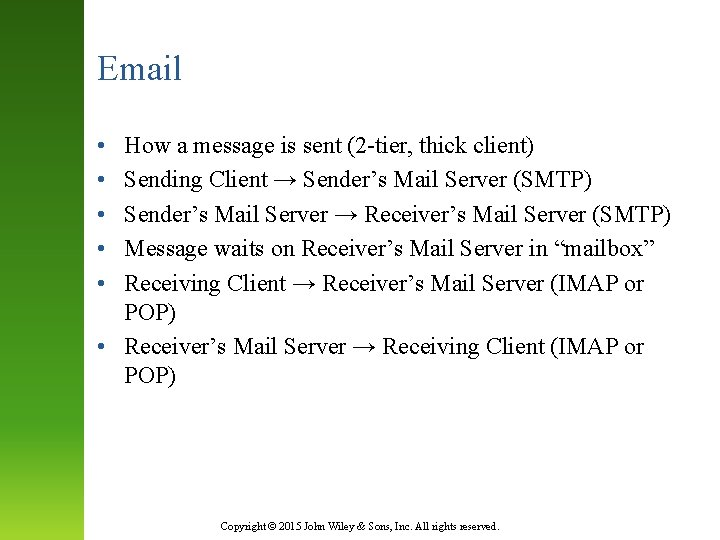 Email • • • How a message is sent (2 -tier, thick client) Sending